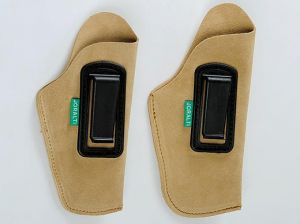 LEATHER HOLSTER WITH PLASTIC CLIPS